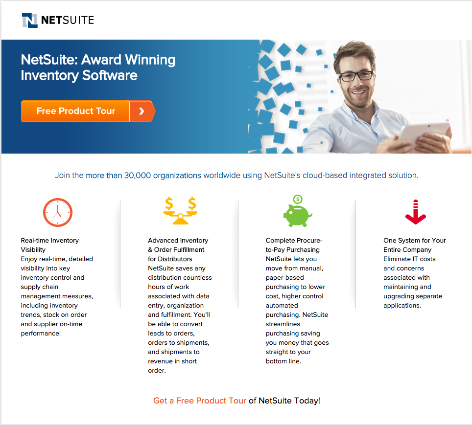 netsuite google adwords landing page example