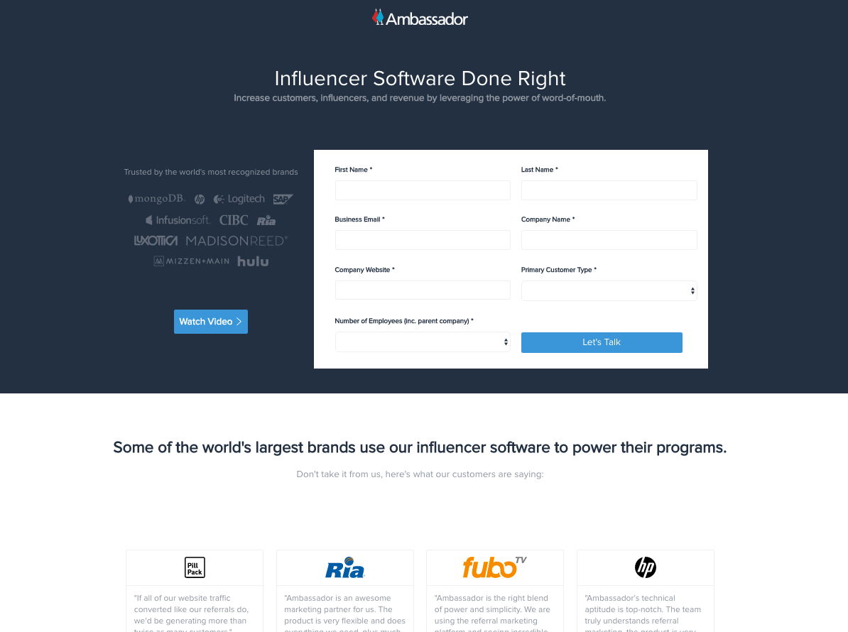 influencer marketing software landing page example