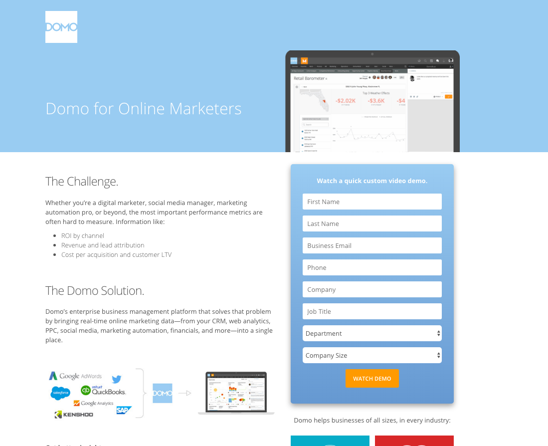 domo landing page example